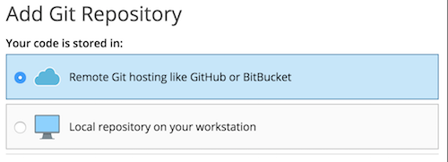 Screenshot of the Add Git repository selection in Plesk